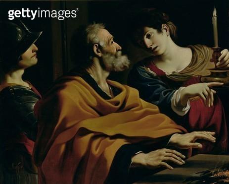 <b>Title</b> : The Denial of St. Peter (oil on canvas)Additional InfoLe Reniement de Saint Pierre;<br><b>Medium</b> : <br><b>Location</b> : Pinacoteca Nazionale, Bologna, Italy<br> - gettyimageskorea