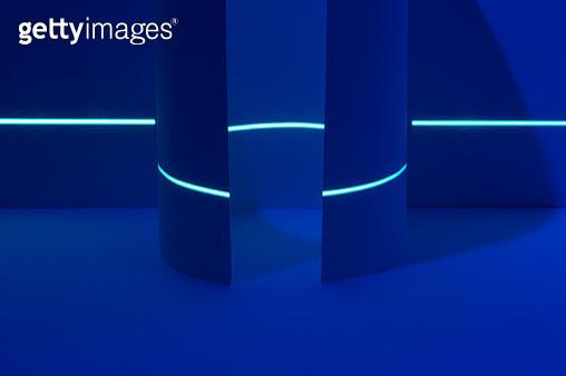 Laser Scanning Circle Rolled Paper in Deep Blue Tone. - gettyimageskorea