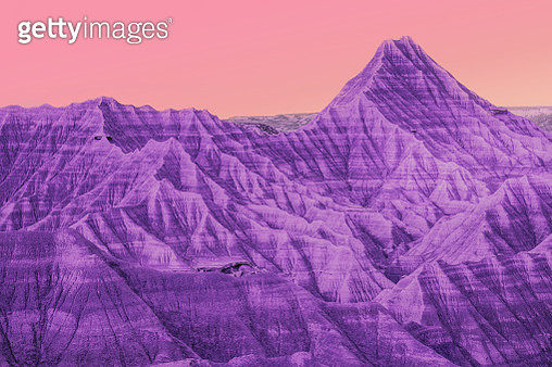 Surreal colorful desert landscape with sunset gradient sky. - gettyimageskorea