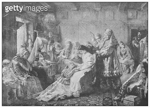 Antique famous painting from the 19th century: The Toilet of the bride by Makowsky - gettyimageskorea