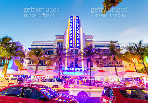 Ocean Drive scene at South Beach, Miami, USA. - gettyimageskorea