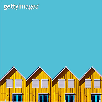 Beach Huts Against Clear Blue Sky - gettyimageskorea
