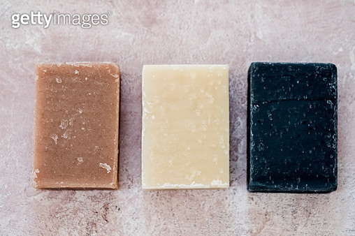 High angle close up of three bars of homemade bars of soap. - gettyimageskorea