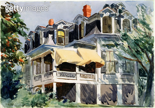 <b>Title</b> : The Mansard Roof, 1923 (w/c over graphite on paper)<br><b>Medium</b> : watercolour over graphite on paper<br><b>Location</b> : Brooklyn Museum of Art, New York, USA<br> - gettyimageskorea