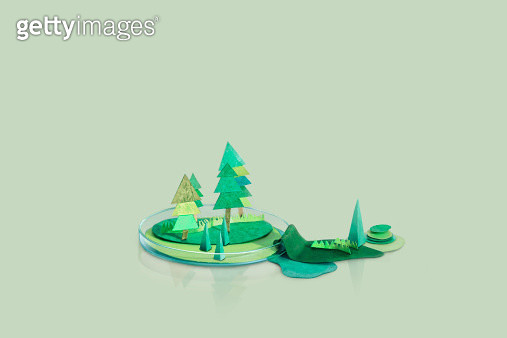paper, paper craft, arts and crafts, elementary, weather, season, temperature, climate, art, abstract, studio, blue background, cute, humor, funny, playful, petri dish, science, experiment, trees - gettyimageskorea
