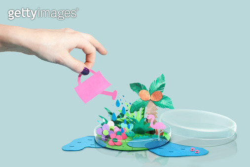 Hand watering a paper craft world in petri dish - gettyimageskorea