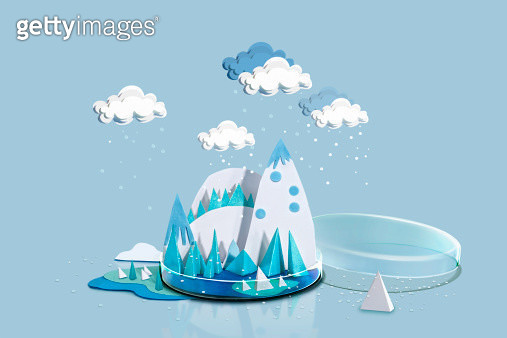 Paper Craft Winter Weather over Icey Blue Mountain - gettyimageskorea