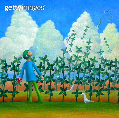 Illustration and paintingBoy plants his flowers in his garden - gettyimageskorea
