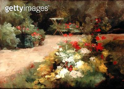 <b>Title</b> : The Garden, c.1878 (oil on canvas)Additional Infoprobably depicts the family property at Yerres;<br><b>Medium</b> : oil on canvas<br><b>Location</b> : Private Collection<br> - gettyimageskorea