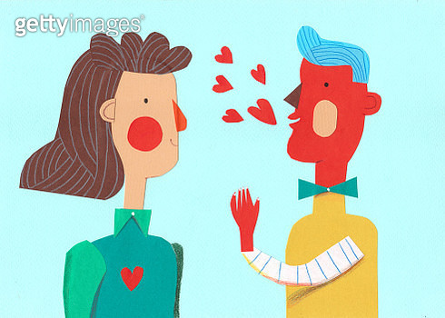 man and woman talking about love, collage, illustration, horizontal, romantic - gettyimageskorea