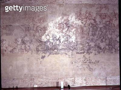 <b>Title</b> : Battle tournament, fragment of mural painting from the Sala del Pisanello (formerly Sala dei Principi) (sinopia)<br><b>Medium</b> : exposed sinopia<br><b>Location</b> : Palazzo Ducale, Mantua, Italy<br> - gettyimageskorea