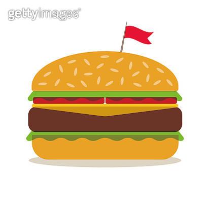 Hamburger in minimalist style. Flat design - gettyimageskorea