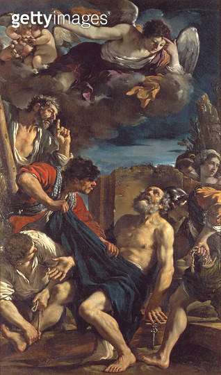 <b>Title</b> : The Martyrdom of St. Peter<br><b>Medium</b> : oil on canvas<br><b>Location</b> : Galleria e Museo Estense, Modena, Italy<br> - gettyimageskorea