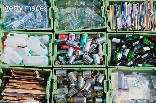 Close up of organized recycling bin - gettyimageskorea