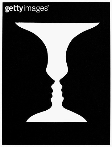 OPTICAL ILLUSION. /nOptical illusion depicting either two black facial profiles silhouetted against a white background or a white vase against a black background. - gettyimageskorea
