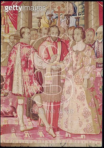 <b>Title</b> : The Charles V Tapestry depicting the Marriage of Charles V (1500-58) to Isabella of Portugal (1503-39) in 1526, detail of the cardinal blessing the couple, Bruges, c.1630-40 (detail of 78692)<br><b>Medium</b> : tapestry<br><b>Location</b> : - gettyimageskorea