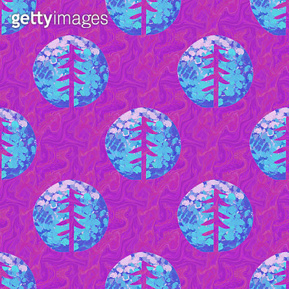 Colorful violet trees seamless pattern - gettyimageskorea