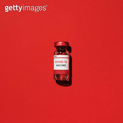 Studio shot of vial with Covid-19 vaccine - gettyimageskorea