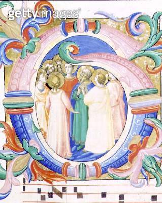 <b>Title</b> : Missal 558 f.41v Historiated initial 'G' depicting the Pentecost<br><b>Medium</b> : vellum<br><b>Location</b> : Museo di San Marco dell'Angelico, Florence, Italy<br> - gettyimageskorea