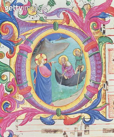 <b>Title</b> : Missal 558 f.9r Historiated initial 'O' depicting the Miraculous Draught of Fishes (detail of 88928)<br><b>Medium</b> : vellum<br><b>Location</b> : Museo di San Marco dell'Angelico, Florence, Italy<br> - gettyimageskorea
