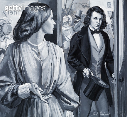 <b>Title</b> : Elizabeth Siddal and Dante Gabriel Rossetti (gouache on paper)Additional InfoElizabeth Siddal (1829-62); Dante Gabriel Rossetti<br><b>Medium</b> : <br><b>Location</b> : Private Collection<br> - gettyimageskorea