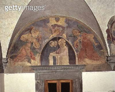 <b>Title</b> : Christ welcomes two Dominican friars, lunette (fresco)<br><b>Medium</b> : fresco<br><b>Location</b> : Museo di San Marco dell'Angelico, Florence, Italy<br> - gettyimageskorea