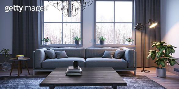 Scandinavian style designed living room interior scene close-up. ( 3d render ) - gettyimageskorea