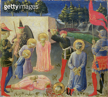 <b>Title</b> : The Beheading of St. Cosmas and St. Damian, from the predella of the Annalena altarpiece, c.1434 (tempera on panel)<br><b>Medium</b> : tempera on panel<br><b>Location</b> : Museo di San Marco dell'Angelico, Florence, Italy<br> - gettyimageskorea