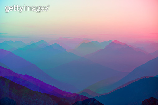Abstract colourful mountain ranges digital art pastel backdrop - gettyimageskorea