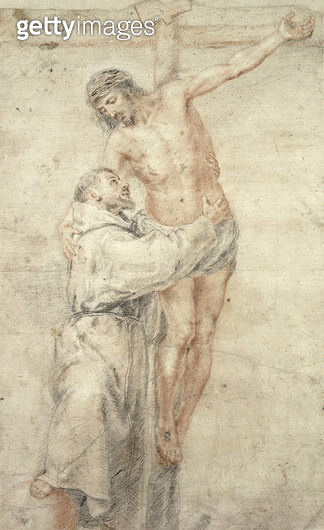 <b>Title</b> : St. Francis Rejecting the World and Embracing Christ (red & black chalk on paper)<br><b>Medium</b> : red and black chalk on paper<br><b>Location</b> : Hamburger Kunsthalle, Hamburg, Germany<br> - gettyimageskorea
