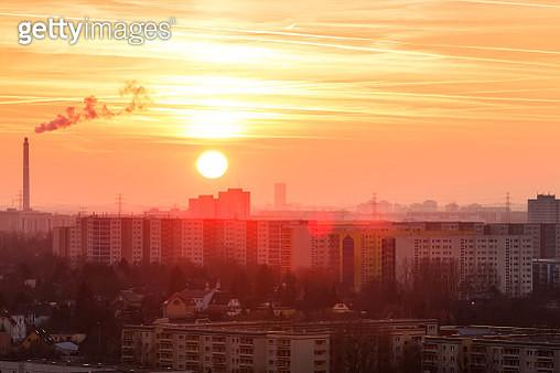 Residential district Berlin Marzahn at sunset (Berlin, Germany) - gettyimageskorea
