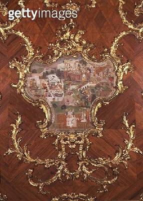 <b>Title</b> : Detail of panelling inlaid with a Persian miniatures of a pleasure garden with people feasting from the Millionen-Zimmer, devise<br><b>Medium</b> : gilded fig wood<br><b>Location</b> : Schloss Schonbrunn, Vienna, Austria<br> - gettyimageskorea
