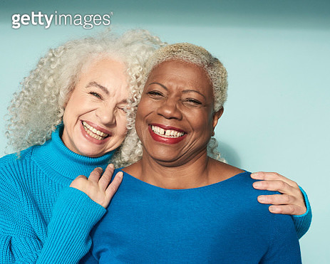 Portrait of two women smiling - gettyimageskorea