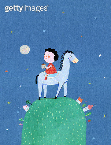 little girl sitting on the horse, they have a walk around the world, vertical illustration - gettyimageskorea