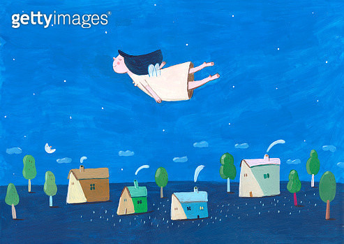 LITTLE GIRL FLYING - gettyimageskorea