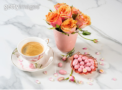 Pink Chocolate Candies with Roses and Coffee - gettyimageskorea