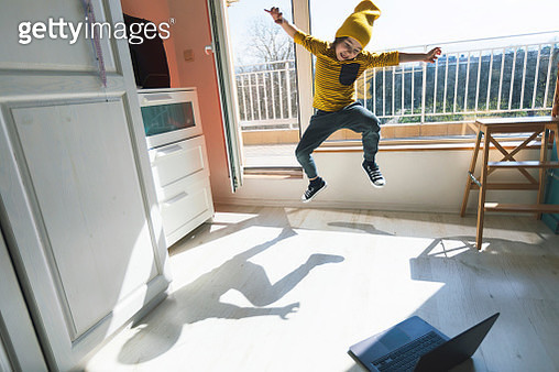 Little boy dancing break at home. Home Pleasures. E-learning - gettyimageskorea