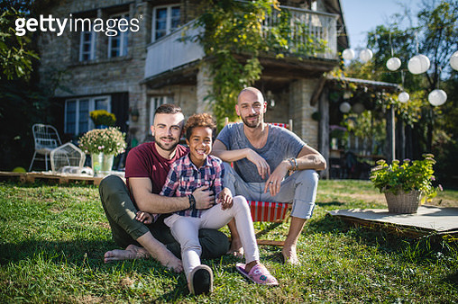 Serene gay family with a adopted daughter - gettyimageskorea