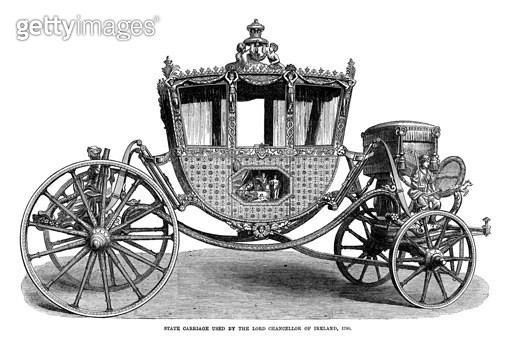 IRELAND: STATE CARRIAGE. /nState carriage used by the Lord Chancellor of Ireland, 1780. Wood engraving, English, 1869. - gettyimageskorea