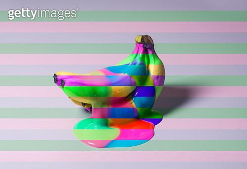 Banana on color blocked background - gettyimageskorea