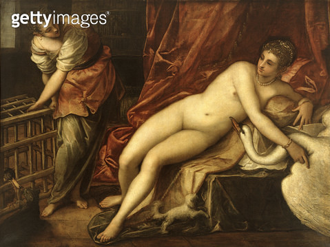 <b>Title</b> : Leda and the Swan, c.1570 (oil on canvas)Additional InfoLeda et le Cygne; wife of Tyndareus, king of Sparta; seduced by Jupiter<br><b>Medium</b> : oil on canvas<br><b>Location</b> : Galleria degli Uffizi, Florence, Italy<br> - gettyimageskorea