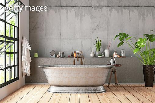 Loft Bathroom with Plants - gettyimageskorea