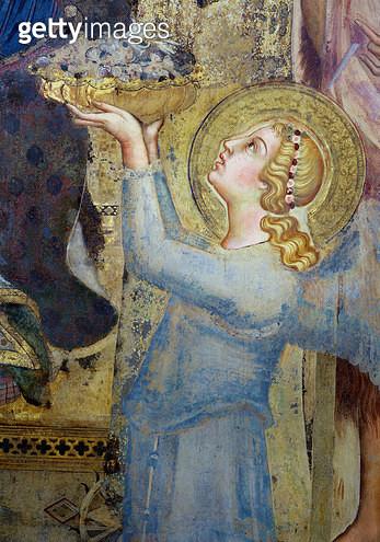 <b>Title</b> : Maesta: Angel Offering Flowers to the Virgin, 1315 (fresco) (detail of 51591)<br><b>Medium</b> : <br><b>Location</b> : Palazzo Pubblico, Siena, Italy<br> - gettyimageskorea