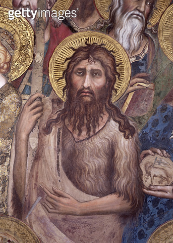 <b>Title</b> : Maesta: St. John the Baptist, 1315 (fresco) (detail of 51591)<br><b>Medium</b> : <br><b>Location</b> : Palazzo Pubblico, Siena, Italy<br> - gettyimageskorea