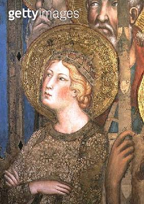 <b>Title</b> : Maesta: St. Catherine of Alexandria, 1315 (fresco) (detail of 51591)<br><b>Medium</b> : fresco<br><b>Location</b> : Palazzo Pubblico, Siena, Italy<br> - gettyimageskorea