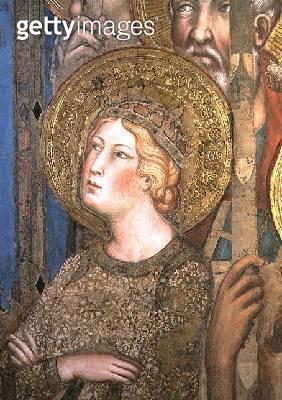<b>Title</b> : Maesta: St. Catherine of Alexandria, 1315 (fresco) (detail of 51591)<br><b>Medium</b> : fresco<br><b>Location</b> : Palazzo Pubblico, Siena, Italy<br> - gettyimageskorea