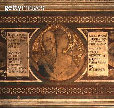 Maesta: Two-faced Figure Representing Old Law and New Law/ detail from the frame/ 1315 (detail of 51591) - gettyimageskorea