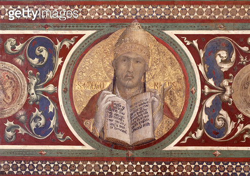 <b>Title</b> : Maesta: St. Gregory, detail from the frame, 1315 (fresco) (detail of 51591)<br><b>Medium</b> : <br><b>Location</b> : Palazzo Pubblico, Siena, Italy<br> - gettyimageskorea