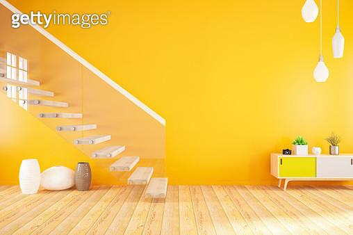 Empty Modern Orange Interior with Stairs - gettyimageskorea