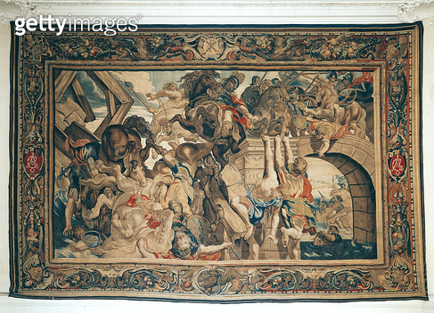 <b>Title</b> : Battle of Pons Milvius, from a series depicting the history of Constantine the Great (270-337) by Philippe Maecht and Hans Taye, before 1663 (tapestry)<br><b>Medium</b> : tapestry<br><b>Location</b> : Mobilier National, Paris, France<br> - gettyimageskorea